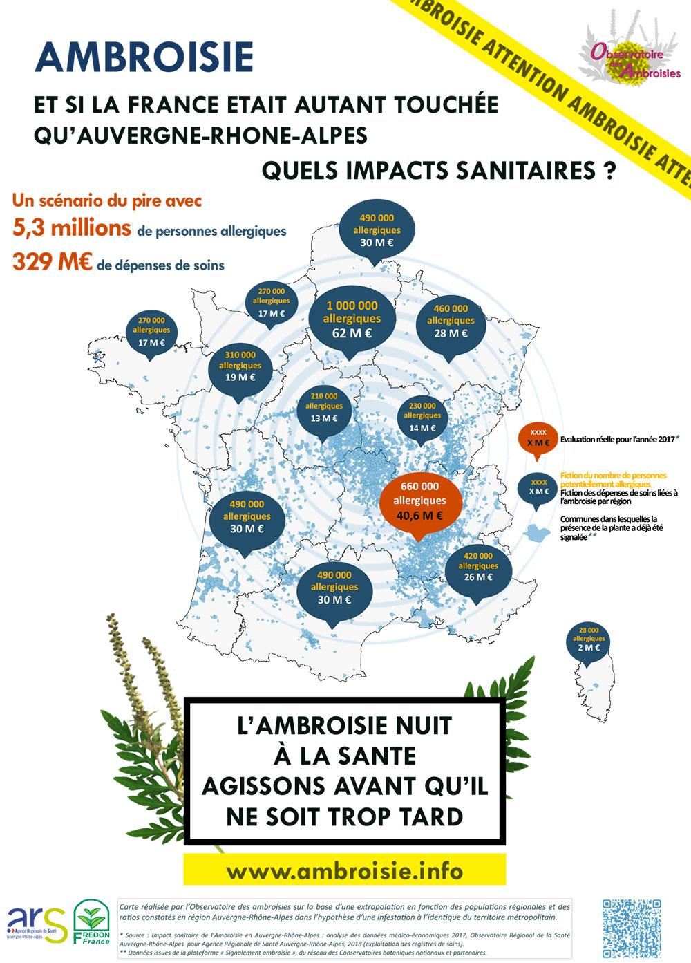 Carte impacts ambroisie France
